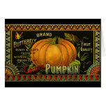 Vintage Can Label Art, Butterfly Pumpkin Vegetable Card