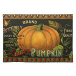 Vintage Can Label Art, Butterfly Pumpkin Vegetable Cloth Place Mat