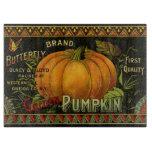 Vintage Can Label Art, Butterfly Pumpkin Vegetable Cutting Board