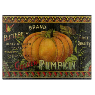 Vintage Can Label Art, Butterfly Pumpkin Vegetable Cutting Board