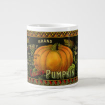 Vintage Can Label Art, Butterfly Pumpkin Vegetable Giant Coffee Mug