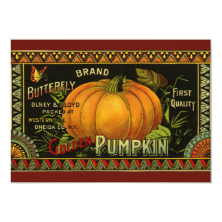 Vintage Can Label Art, Butterfly Pumpkin Vegetable 5x7 Paper Invitation Card