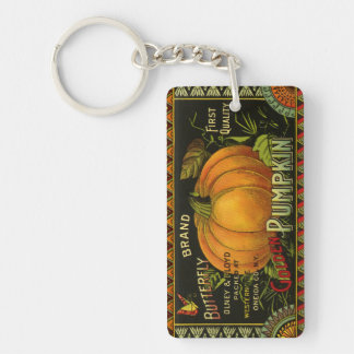 Vintage Can Label Art, Butterfly Pumpkin Vegetable Double-Sided Rectangular Acrylic Keychain