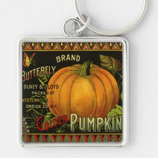 Vintage Can Label Art, Butterfly Pumpkin Vegetable Key Chain