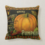 Vintage Can Label Art, Butterfly Pumpkin Vegetable Throw Pillow