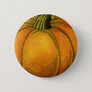 Vintage Can Label Art, Butterfly Pumpkin Vegetable Pinback Button