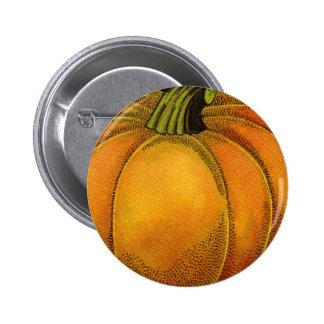 Vintage Can Label Art, Butterfly Pumpkin Vegetable Pinback Button