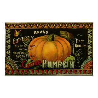 Vintage Can Label Art, Butterfly Pumpkin Vegetable Poster