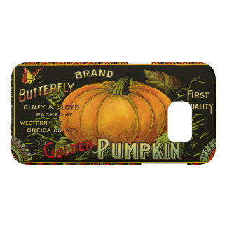 Vintage Can Label Art, Butterfly Pumpkin Vegetable Samsung Galaxy S7 Case