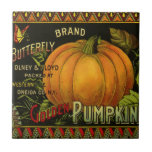 Vintage Can Label Art, Butterfly Pumpkin Vegetable Small Square Tile