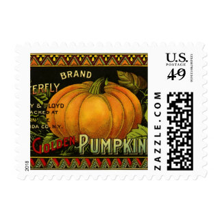 Vintage Can Label Art, Butterfly Pumpkin Vegetable Stamp