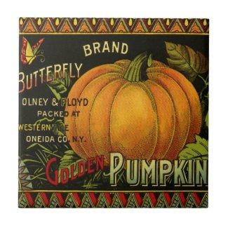 Vintage Can Label Art, Butterfly Pumpkin Vegetable Tile