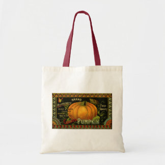 Vintage Can Label Art, Butterfly Pumpkin Vegetable Tote Bag