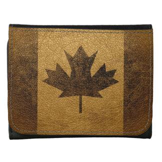 Vintage Canada Flag Leather Tri-fold Wallet