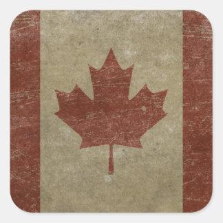 Vintage Canada Flag Square Sticker