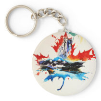 Vintage Canada Maple Leaf Travel Love Watercolor Keychain