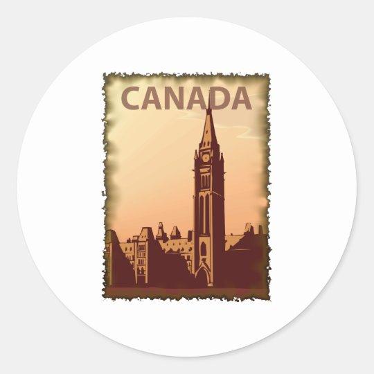 Vintage Canadá Pegatina Redonda