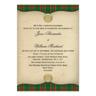 Vintage Canadian Caledonian Tartan Plaid Wedding Card
