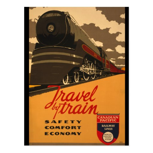 Vintage Canadian Rail Road Trail Poster Post Cards