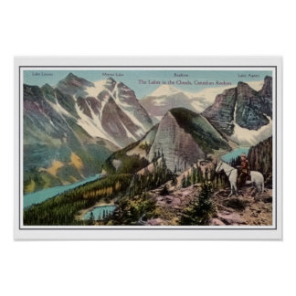 Vintage Canadian Rockies Lakes in the clouds Poster