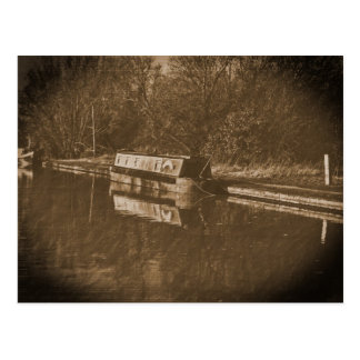 Vintage canal barge duckett postcard