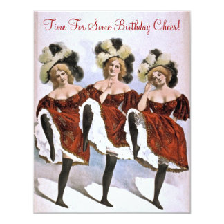 Vintage CanCan Dancer Birthday Anniversary Party Card