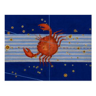 Vintage Cancer Star Chart Postcard