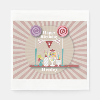 Vintage Candy Buffet Birthday Napkins