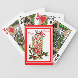 Vintage Candy Cane Jar Red and White Bicycle Playing Cards