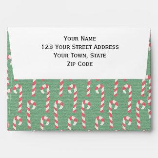 Vintage Candy Canes Pattern Envelope