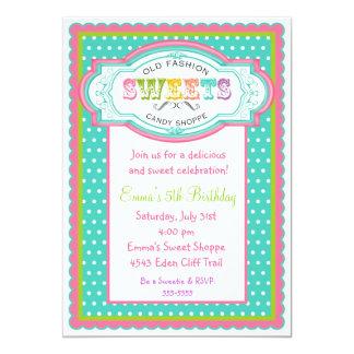 Vintage Candy Parlor Birthday Invitations