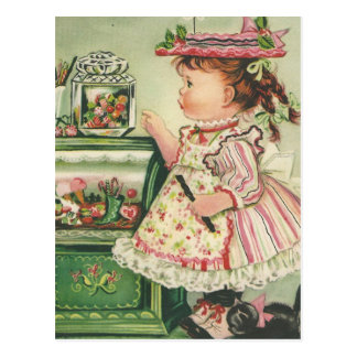 Vintage Candy Shop Girl Card