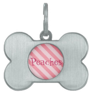 Vintage Candy Stripe Coral Persimmon Grunge Pet Name Tag