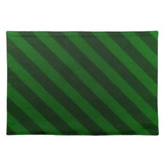 Vintage Candy Stripe Emerald Green Grunge Cloth Place Mat