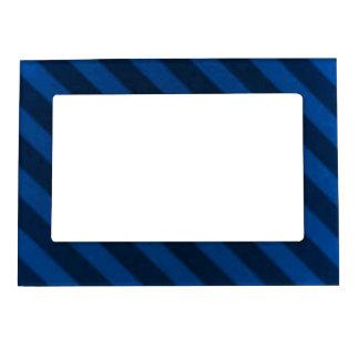Vintage Candy Stripe Sapphire Blue Grunge Magnetic Frame