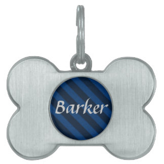 Vintage Candy Stripe Sapphire Blue Grunge Pet ID Tag