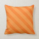 Vintage Candy Stripe Tangerine Orange Grunge Pillow