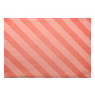 Vintage Candy Stripe Tangerine Orange Sherbet Cloth Placemat