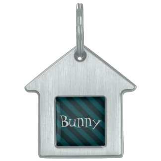 Vintage Candy Stripe Turquoise Teal Grunge Pet ID Tag