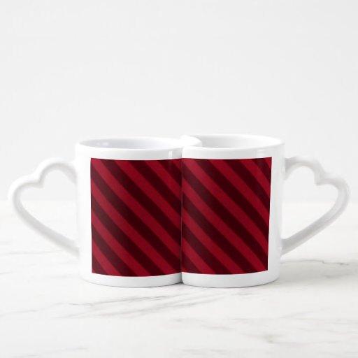 Vintage Candy Stripe Wallpaper Cranberry Red Lovers Mug Sets