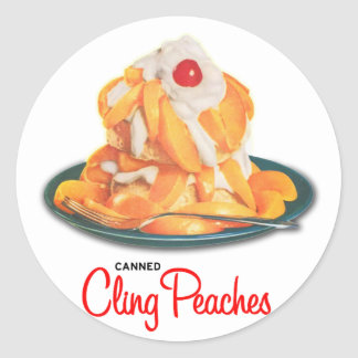 Vintage Canned Cling Peaches Retro Kitsch Classic Round Sticker