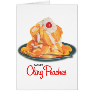 Vintage Canned Cling Peaches Retro Kitsch Greeting Card