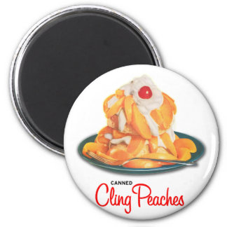 Vintage Canned Cling Peaches Retro Kitsch Magnet