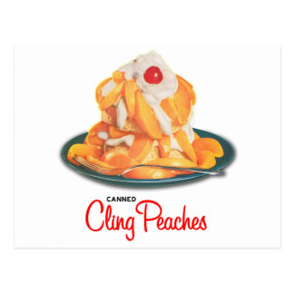 Vintage Canned Cling Peaches Retro Kitsch Postcard