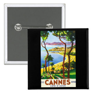 Vintage Cannes Cote D'Azur French Travel Poster 2 Inch Square Button