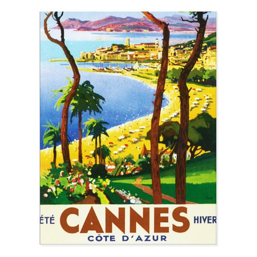 Vintage Cannes Cote D'Azur French Travel Poster Post Cards