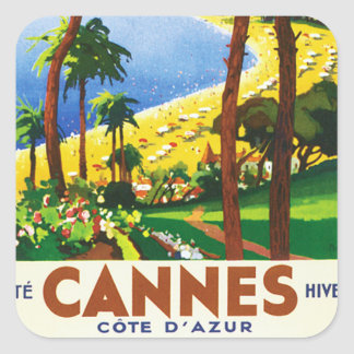 Vintage Cannes Cote D'Azur French Travel Poster Square Sticker