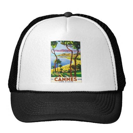 Vintage Cannes Cote D'Azur French Travel Poster Trucker Hat