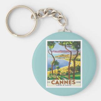 Vintage Cannes Cote d'Azur Llavero Redondo Tipo Pin