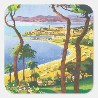 Vintage Cannes Cote D'azur Square Sticker
